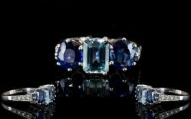 18ct White Gold Stunning Quality Three Stone Sapphire And Aquamarine Dress Ring Wonderful ring