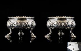 A Fine Pair of Early George III Cast Silver Salts, Raised on Unusual Spread Feet.
