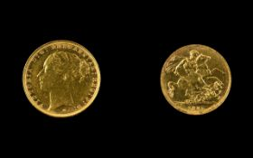 Victorian Period Young Head 22ct Gold Full Sovereign - Date 1885.