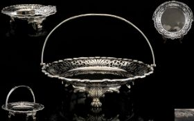 Walker and Hall Superb Quality Very Ornate Swing Handle Circular Footed Fruit Basket of Wonderful