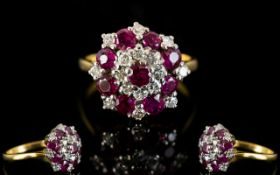 18ct Gold - Attractive Ruby and Diamond Set Cluster Ring, Flower head Setting.