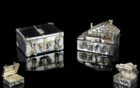 A Fine Pair of Novelty Well Detailed 1960's Silver Pill Boxes ( 2 ) Both Fully Hallmarked for 925