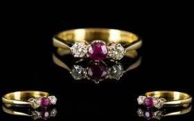 18ct Gold - Very Attractive 3 Stone Ruby and Diamond Dress Ring, Fully Hallmarked for 18ct - 750.