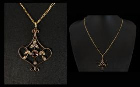 Edwardian Period 9ct Gold Garnets and Seed Pearl Set Pendant Drop,