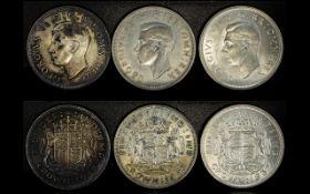 George VI Silver Crown High Grade - Mint Uncirculated Condition + Two Other George VI Silver Crowns