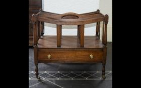 Canterbury Magazine Rack Mahogany Canterbury in a Victorian style, comprising four dividers,
