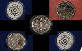 Royal Mint Collection of Boxed Silver Proof Struck Crowns ' 4 ' Four.