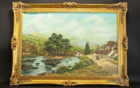 Keith Sutton Oil On Board Country landscape with river, figures and cottages.