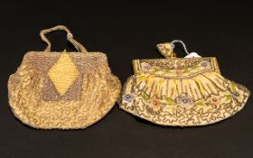 Antique Beaded Evening Bags Two in total to include pale gold silk and seed bead top clasp bag,