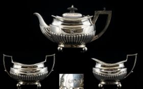 Victorian Period - Bachelors Solid Silver Tea For Two 3 Piece Tea Service,