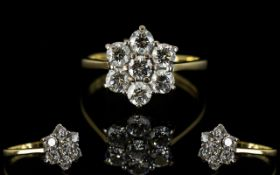 18ct Gold Attractive and Good Quality Diamond Set Cluster Ring, Flower head Setting.