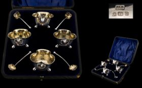 Edwardian Period Attractive Boxed Set of Four Shamrock Shaped Silver Salts and Original Spoons,