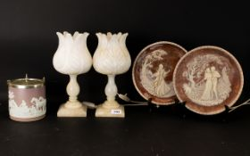 Mixed Lot To Include Onyx Table Lamps, Wedgwood Biscuit Barrel,