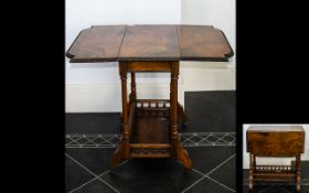 A Late 19th Early 20th Century Walnut Dropleaf Table Occasional table with carved edge, turned,