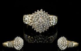 Ladies - 9ct Yellow Gold Attractive Diamond Cluster Ring,