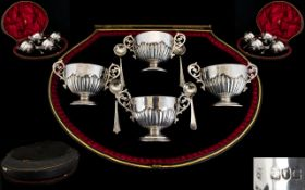 Victorian Period High Quality Set of Four Twin Handled Silver Salts and Spoons all With Fluted Half