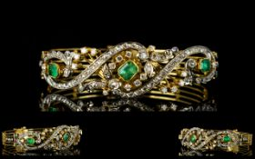 French Superb and Exquisite 19th Century 18ct Gold - Diamond and Emerald Set Hinged Bangle.