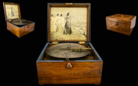 Walnut Cased Polyphonic Music Box Complete with 18 Metal Discs. c.1900. More Information to Follow.