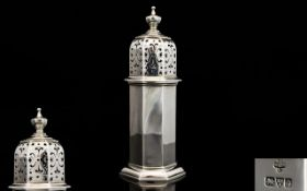 Top Quality - Solid Silver Octagonal Shaped Solid Silver Sugar Castor of Architectural Form.