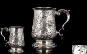 George III Silver Tankard. Hallmark London 1766, Maker T.W ( Thomas Wallis ) Height 4.75 Inches -