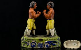 Staffordshire Style Pottery Figure of Tom Spring and Jack Langan In the 1824 Bare Knuckle Boxing