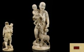 Japanese - Late 19th Century Tokyo School Signed and Wonderful Carved Ivory Figure Group - Depicts