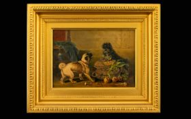 Framed Oil On Canvas Early 20th century oil on canvas depicting a pug and terrier.