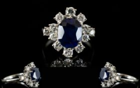 Art Deco Period 18ct White Gold - Superb Quality Sapphire and Diamond Set Cluster Dress Ring,