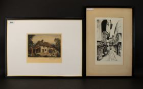 1930's Pen And Ink Illustration Depicting a street scene, framed and mounted under glass,