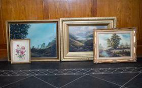 A Collection Of Framed Landscape And Still Life Paintings Four items in total to include large