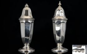 Art Deco Period Pair of Silver Salt and Pepper Pots of Tapered Form.