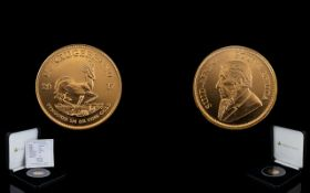 2017 South Africa Ltd Edition Quartz Ounce of Fine Gold Krugerrand, Uncirculated Mint Condition.