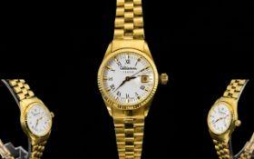 Altanus - Geneve ( Swiss Made ) Ladies 18ct Yellow Gold Date-Just Wrist Watch.