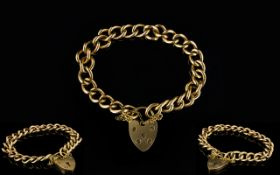 9ct Gold Curb Bracelet with Heart Shaped Padlock and Safety Chain.