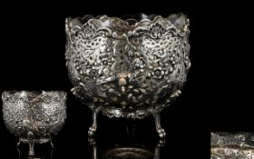 European 19th Century ( Possibly Dutch or French ) Superb Quality Cast Silver Footed Bowl with
