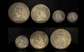 A Good Collection of Queen Victoria Jubilee Bun Head Silver Coinage ( 7 ) Coins. All Dated 1887.