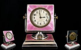 Art Deco Period - Ladies Impressive Solid Silver and Pink Guilloche Enamel Table / Desk Clock,