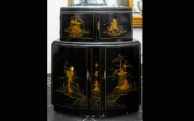 Early 20th Century Oriental Painted Cocktail Cabinet/Mini Bar Of two tier curved form with integral