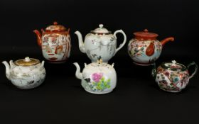 Collection Of 19th Century Chinese And Japanese Teapots. Six In Total. Typical Form.