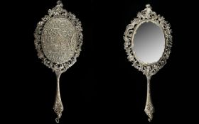 Dutch - 19th Century Superb Quality Cast Solid Silver / Ornately Decorated Hand Mirror,