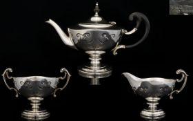 Walker and Hall Superb Quality Aladdin Shaped Solid Silver 3 Piece Tea Service, Wonderful Design.
