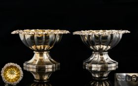 George IV Superb Quality - Matched Pair of Cast Silver Salts with Gilt Interiors. Shell and Floral