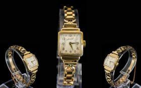 Accurist - Swiss Made Ladies 9ct Gold Mechanical 1950's Wrist Watch, Attractive 1950's Design,