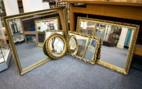 Two Reproduction Gilt Framed Over Mantel Mirrors Large rectangular bevelled glass mirrors,