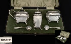 Edwardian Period Walker and Hall Boxed Silver - 3 Piece Cruet Set with George Unite Silver Salt