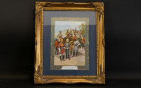Military Interest Reproduction Framed Print 'The Kings Own Regiments Of The Indian Army' Polychrome