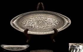 George III Boat Shaped Ornate Shallow Tray, Very Pleasing Form with Fine Detail. Hallmark London