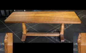 Robert Thompson Mouseman Of Kilburn Mid - Late 20thC Golden Oak Coffee Table Large rectangular form,