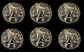 Arts and Crafts Period Set of Six Silver Buttons of Attractive Form with Original Box.