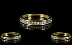 18ct Yellow Gold Diamond Set - Half Eternity Ring, Set with 13 Round Brilliant Cut Diamonds.